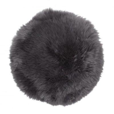Gently rund stolsdyna - Träkolsfärgat fårskinn