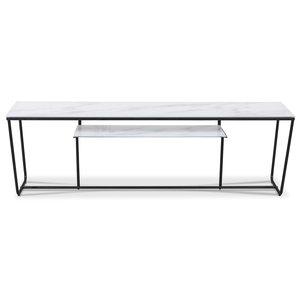 Stella mediabänk - Vitt marmorerat glas / Matt svart underrede
