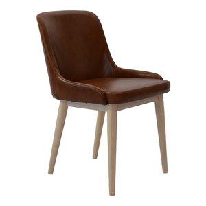 Edgar stol i brunt läder - vitpigmenterade ben