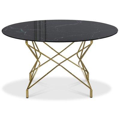 Soffbord Star 90 cm - Svart marmorerat glas / mässingsfärgat underrede