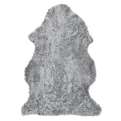 Curly fårskinn - 95x55 cm - Träkol/silverfärgad