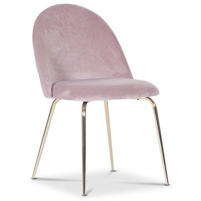 Plaza velvet stol - Ljusrosa / Mässing