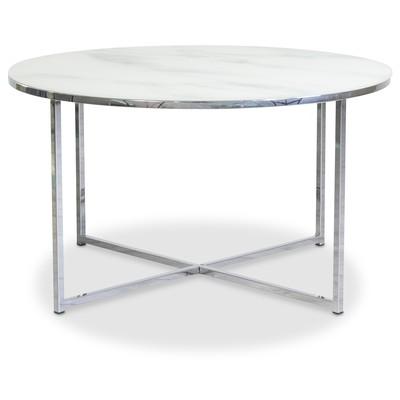 Palasso soffbord 80 cm diameter - Krom / Ljus marmorering