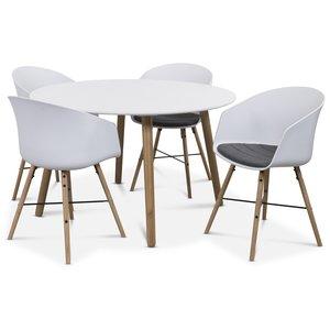 Rosvik matgrupp Runt bord vit/ek med 4 st Moon stolar