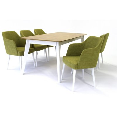 Sarek matgrupp - Bord inklusive 6 st stolar - Vit/ek