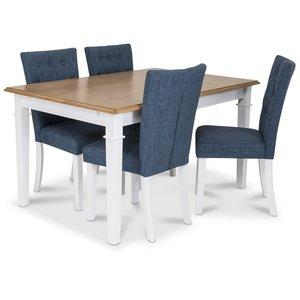 Ramnäs matgrupp - Bord inklusive 4 st Crocket stolar i blå klädsel - Vit/ekbets