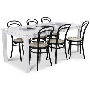 Jasmine matgrupp med vitlackat bord och 6 st Thonet No14 matstolar