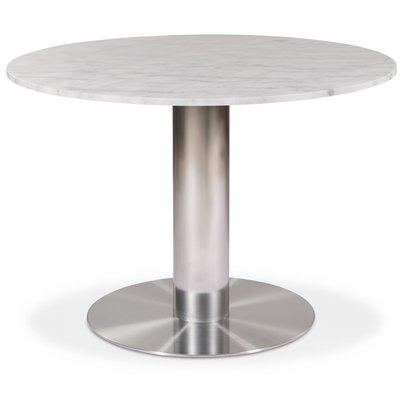 Next runt matbord i marmor D105 cm - Borstad stål / Marmor (Vit)