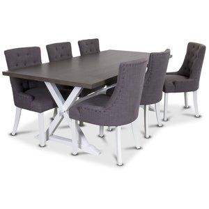 Malta matgrupp inklusive 6 st Tuva stolar i grått tyg