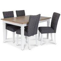 Ramnäs matgrupp - Bord inklusive 4 st Crocket stolar i grå klädsel - Vit/ekbets