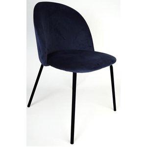 Giovani velvet stol - Mörkblå/Svart