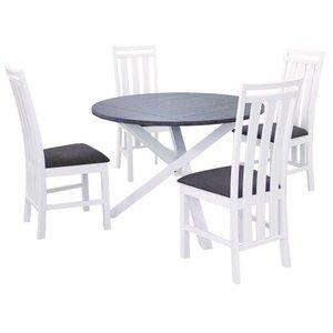Skagen matgrupp - Bord inklusive 4 st stolar - Vit/Brun