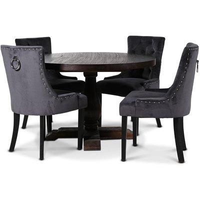 Lamier matgrupp Bord med 4 st Tuva stolar i mörkgrått sammet