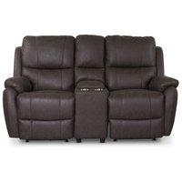 Enjoy Hollywood El-Recliner 2-sits soffa med konsoll - Brunt microtyg