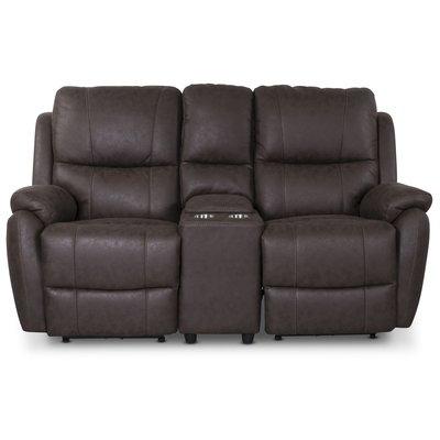 Enjoy Hollywood Biosoffa - 2-sits recliner (el) i brunt microfibertyg