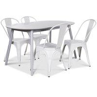 Göteborg matgrupp grått ovalt bord med 4 st Le Mans Plåtstolar - Grå / Vit