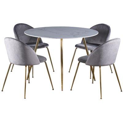 Deco matgrupp 110 cm runt bord + 4 st Art stolar grå sammet / Mässing