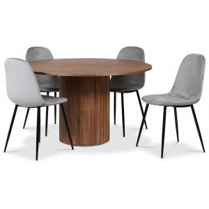 Pose matgrupp: Bord Ø130 cm inklusive 4 st carisma stolar - Valnöt