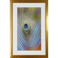 Tavla med guldig ram (Påfågel) - 40x60