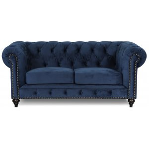 Chesterfield Montgomery 2-sits soffa - Blå sammet