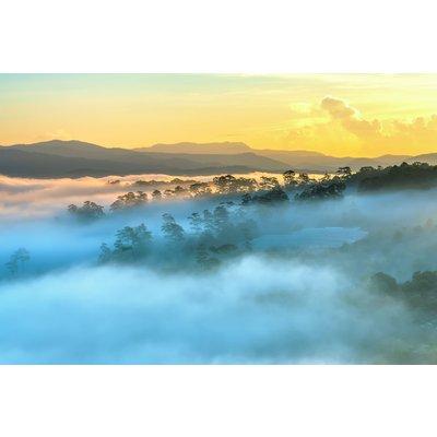 Glastavla Foggy Landscape - 120x80 cm