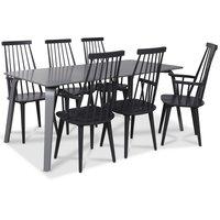 Visby matgrupp, 180 cm grått bord med 6 st gråa Dalsland pinnstolar med armstöd
