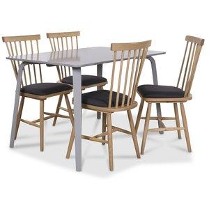 Visby matgrupp grått bord med 4 st Småland pinnstolar - Grå / Ek