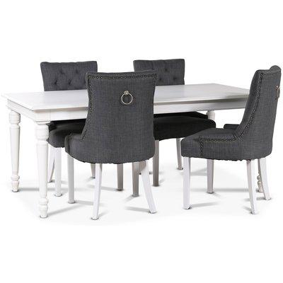 Paris matgrupp vitt bord med 4 st Tuva New Port stolar i grått tyg med rygghandtag