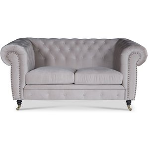 Sheffield Chesterfield 2-sits soffa - Beige (sammet)