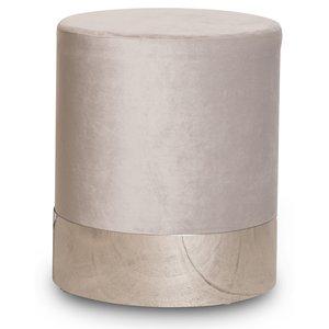 Puffa fotpall cylinderformad - Beige/Silver