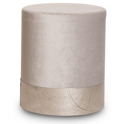 Rund sittpuff cylinderformad - Beige (Sammet) / Krom