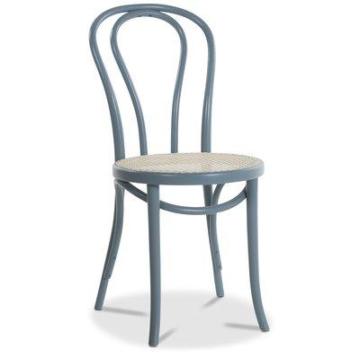 Böjträ Stol No18 Klassiker med rottingsits - Pastellblå