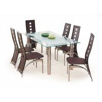 Bella matbord - Glas/Kromat stål