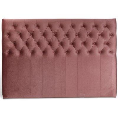 Anna sänggavel med knappar (Rosa sammet) - Valfri bredd