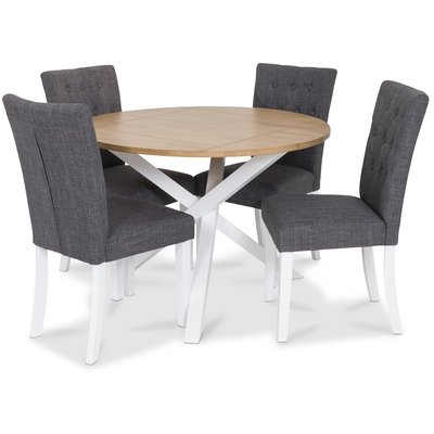 Skagen matgrupp - Runt bord inklusive 4 st grå Crocket stolar - Vit/Ekbets