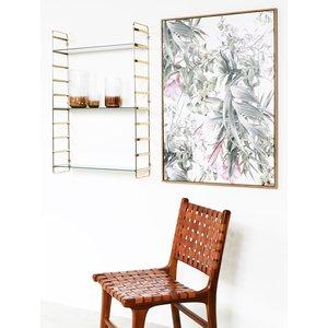 Vägghylla Stream - Vitt marmorerat glas / Mässing