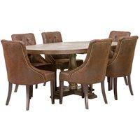 Matgrupp: Lamier matbord runt + 6 st Tuva Europa stolar - mocca
