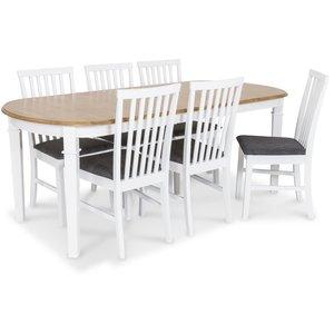 Ramnäs matgrupp - Bord inklusive 6 st Alice stolar med grå sits - Vit/ekbets