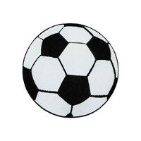Barnmatta Brigid fotboll - Svart/vit - Rund Ø120 cm