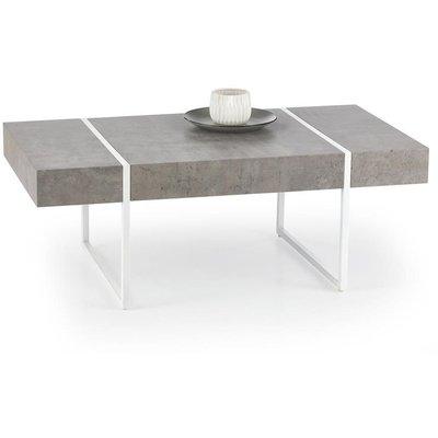 Carin soffbord - Vit/betongmönster