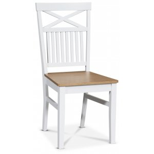 Fårö matstol med kryss i ryggen - Vit/ek