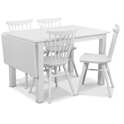 Sander matgrupp, Bord med klaff och 4 st vita Thor pinnstolar