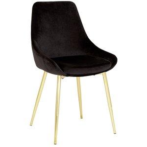 Theo stol - Svart sammet Guldfärgade ben