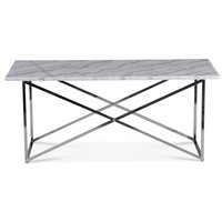 Paladium soffbord - Krom / Äkta ljus marmor