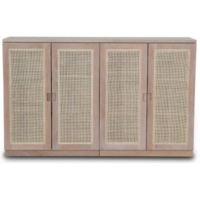 Level sideboard med dörrar i rotting B140 cm - Whitewash