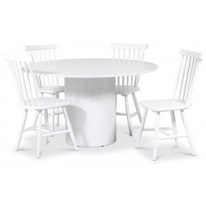 Pose matgrupp: Bord Ø130 cm inklusive 4 st Karl pinnstolar - Vitbetsad ek