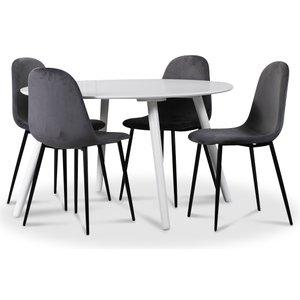 Rosvik matgrupp, matbord med 4 st Carisma sammetsstolar - Vit/Grå