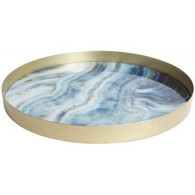 Marmor rund serveringsbricka - Ljusblå marmor