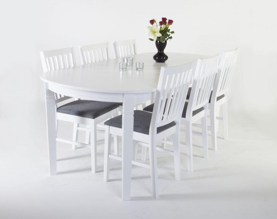 Matgrupp: Sandhamn ovalt matbord 160 200 cm Vit + Sandhamn