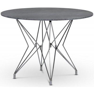 Zoo matbord Ø105 cm - Krom / Grå marmor